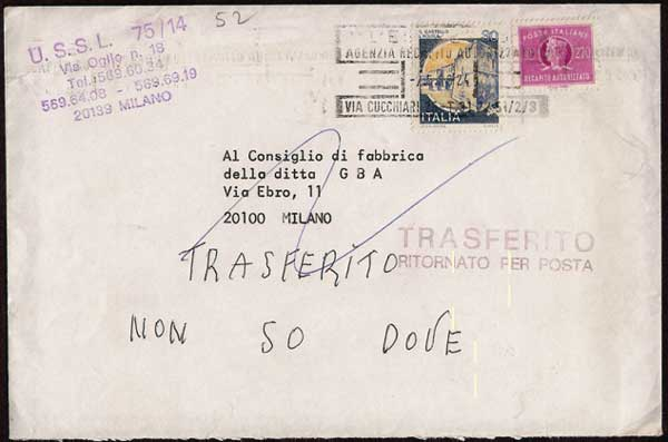 Storia postale italiana for Recapito postale